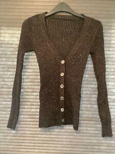 womens 76% Wool Cardigan Top Brown Glittery Size 8-10