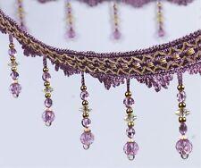 Purple 1m Curtain Sewing Accessory Fringe Trim Tassel Bead Lace Pendant Ribbon