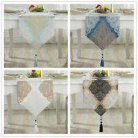 Luxury White Bronze Damask Thick Jacquard Tassels Wedding Bed Table Runner Cloth