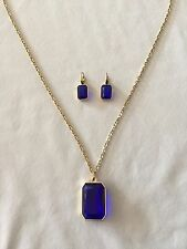 MICHAEL KORS Parisian Jewels Gold Blue Necklace Pendant & Earrings MKJ5001 $240