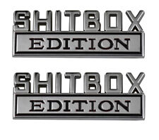 2pcs SHITBOX EDITION Emblems Sticker Car Decal for Truck Badge Chrome Black
