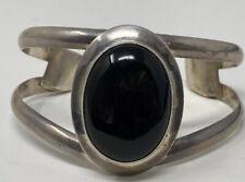 Sterling Silver Onyx Cuff Bracelet Fabulous Vintage Signed Robert Nilsson