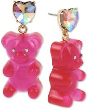 "Betsey Johnson Stone Crystal Heart Large 2"" Gummy Bear Drop Earrings Q3"