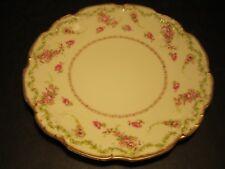 Lovely Old JPL Limoges PInk Roses Decorated Porcelain Gold Border Edged Plate