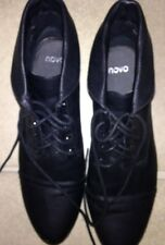 LADIES LACE UP BLACK LOW HEEL BOOTS~ NOVO~SZ 10~EXC