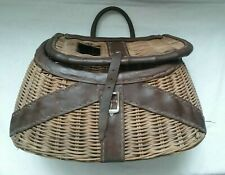 Vintage Fishing Creel with Handle & Leather Strap & Buckle Closure ( Nice )