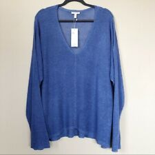 NWT Eileen Fisher Linen Tencel Boxy Long Sleeve V-Neck Cozy Top Periwinkle 3X