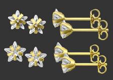 ECHT GOLD *** 1 Paar Stern Zirkonia Ohrstecker, wählbar in 5mm - 6mm Ø