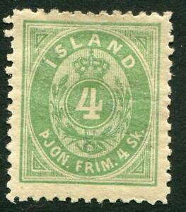 (43) VERY GOOD 1873 ICELAND 4sk GREEN OFFICIAL SGO8 MOUNTED MINT. MH.