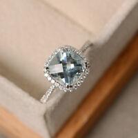 14K Real White Gold 2.85 Ct Cushion Cut Natural Diamond Natural Aquamarine Ring
