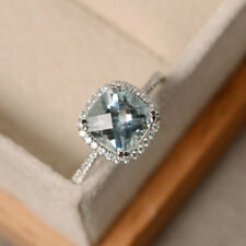 14K White Gold 2.85 Ct Cushion Cut Real Diamond Aquamarine Rings