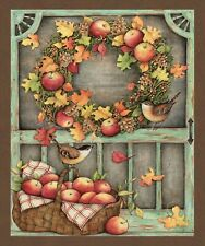 "Susan Winget Screen Door Autumn Fall Cotton Fabric CP68774 36""X44"" Wall Panel"