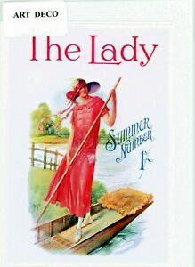 'The Lady' - Nostalgic Art Deco 1924 front cover. greeting card. blank inside