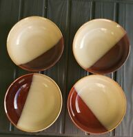 "Set Of 4 Sango 4976 Eclipse Brown 7.5"" Diameter Soup Cereal Bowl"