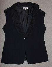 Womens CAbi Sz 8 Vest Button-Front Black Tuxedo Oversize Collar Lined 917