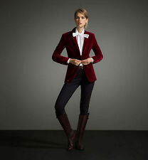 Women EHS New Casual Stylish Slim Fit Party Wear Maroon Velvet Jackets Blazers