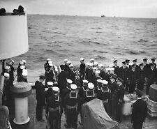 WWII B&W Photo US Navy Burial at Sea Service  World War Two   WW2 / 1119