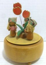 """Schmid No.162 """"Edelweiss"""" Wood Motion Music Box Girls with Flowers & Water Can"""