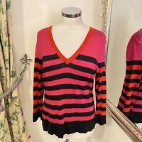 Hobbs Size 18 pink red black stripe knitted light weight silk cotton jumper VGC