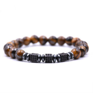 New Men Women Zircon Square Beads Bracelets Tiger Eye Turquoise Stone Bracelets