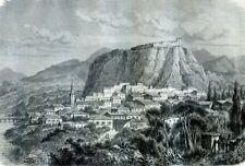 Greece, calamata...Antique engraving  1862