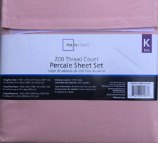 New Mainstays 200 Thread Count Percale Sheet 4 PIECES  Set King Size