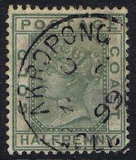 Gold Coast 1884 1/2d Green SG11 Fine AKROPONG CDS.