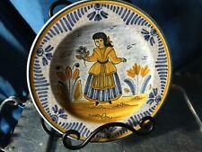 Medium plate crackle glaze hand painted girl figure basque ? pottery signed ABAD
