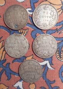 Canada - Five various 50 cents coins 1871. 1872. 1892. 1899. 1901.