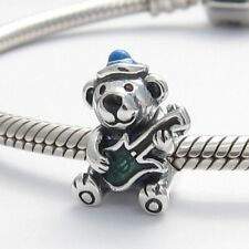 TEDDY BEAR with GUITAR CHARM Bead Sterling Silver.925 for European Bracelets 462