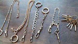 Konvolut Vintage Taschenuhrketten mit Karabiner , Federring und Schlüssel