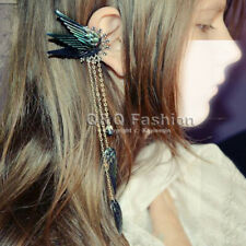 Chic Black Fairy Elf Pixie Angel Wing Long Chain Ear Cuff Earring Fancy Dress