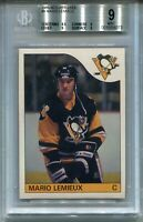 1985 OPC Hockey #9 Mario Lemieux Penguins Rookie Card RC BGS MINT 9 O-Pee-Chee