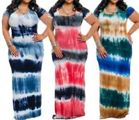 Plus Tie Dye Multi-Color Stripe Color Block Maxi  Long Rayon Dress Size XL-4X