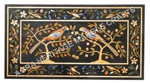 4'x2' Black Marble Dining Center Table Top Marquetry Inlay Furniture Decor H5135