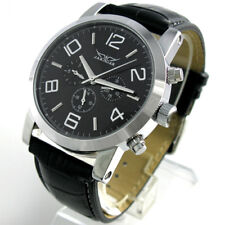 Self Wind Stainless Steel Leather Automatic Mechanical Date Day Sport Mens Watch