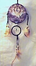 New Howling Wolves Dream Catcher Mandella Turquoise Stone Beads & Feathers