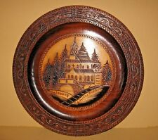 Vintage German Wooden Carved 3D Wall Plate