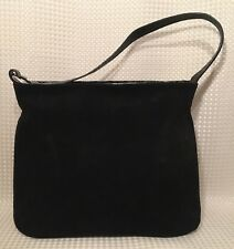 Furla Handbag Shoulder Bag Black Suede Leather Croc Embossed Handle Italy