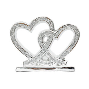 SILVER DOUBLE HEART SPARKLE BLING ORNAMENT CRUSHED DIAMOND