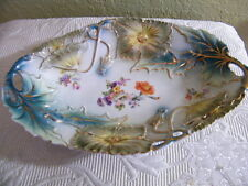 """VINTAGE COLLECTIBLE  CHINA DISH 12"""" JPF GERMANY BEAUTIFUL DELICATE FLORAL DESIGN"""