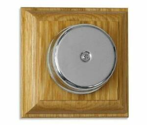 Loud Underdome wired Chrome Doorbell on Varnished Oak Plinth