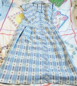 Vintage 1950's Blue Gingham Hippie Boho House Dress  L or XL