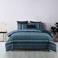 Bianca Como Teal Quilt Doona Cover Set | Black piped edging smartly finished