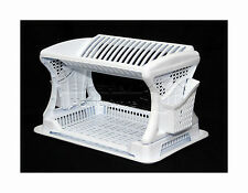 Stylish Design Two  2 Layer Plastic Dish Drainer Rack  Utensil Cutlery WHITE
