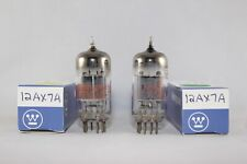 Perfect MATCHED Pair 2 Westinghouse 12AX7A SQUARE Getter TEST VERY STRONG 100%