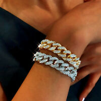 Women Crystal Zirconia Tennis Bracelet Chain Wedding Silver Rose Gold Jewelry