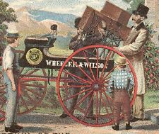 1880s WHEELER & WILSON SEWING MACHINE TRADE CARD, DELIVERY WAGON FREE SHIP TC992