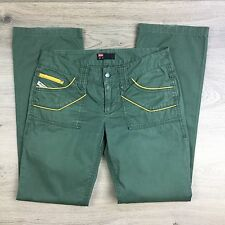 Diesel Industry Women's Green Pants w Yellow Trim Size 26 Actual W30 L29.5 (R2)