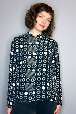 Contrast Pattern Blouse by Marla Duran, Circles, Mandarin Collar, Art to Wear